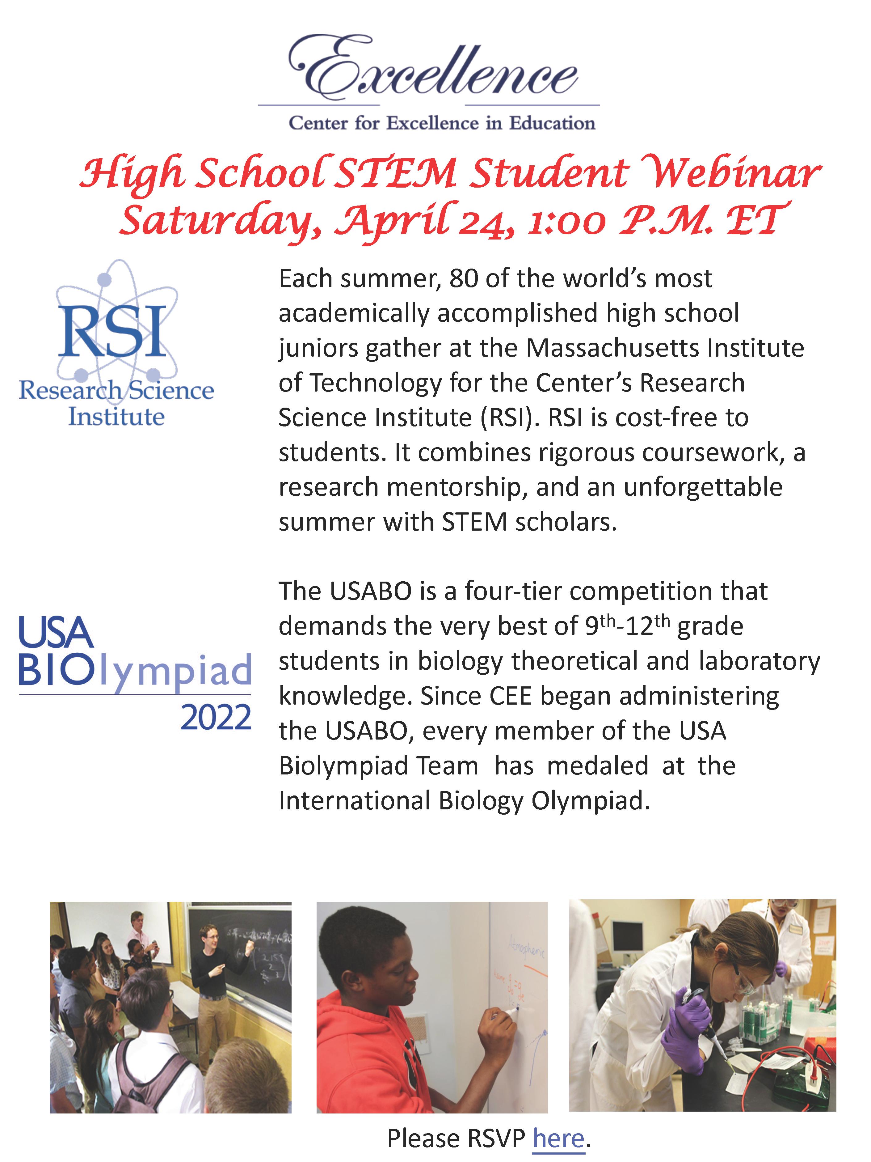 High School STEM Student Webinar