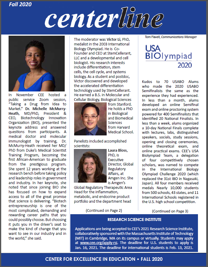 Cover of CEE Fall 2020 Newsletter